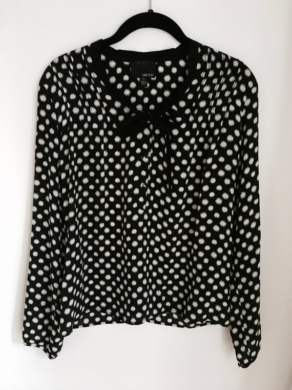Silk Pussy Bow Dot Blouse