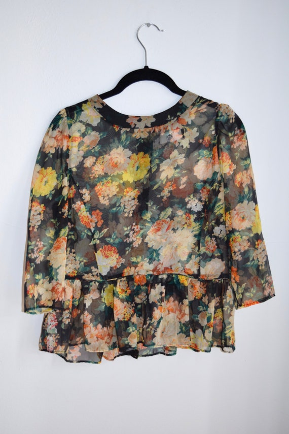 Black Floral Sheer Baby Doll Ruffle Blouse