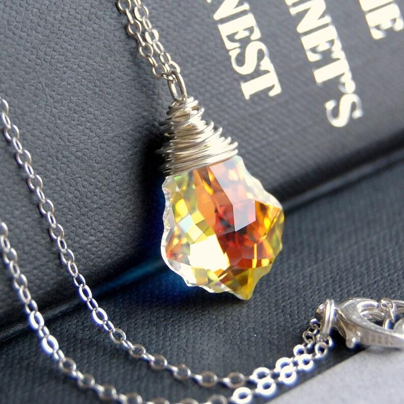 572c9963ebbc Pendant Necklace Clear AB Aurora Borealis Swarovski Crystal
