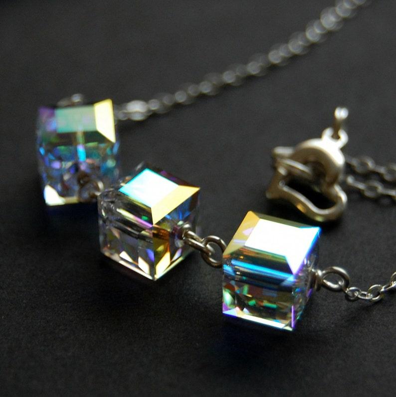 a01b69088 AB Crystal Cube Necklace Clear Aurora Borealis Swarovski | Etsy