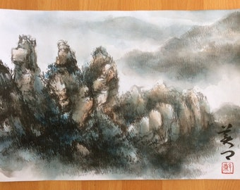 Original Chinese Painting - Natural Scenery ( Sydney Blue Mountains,Australia )