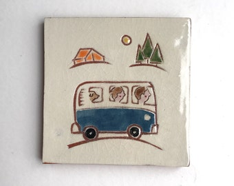 """4 inch tile, blue VW bus on a family road trip, 4"""" x 4"""" hand carved terra-cotta and white tile, trivet, or wall hanging"""