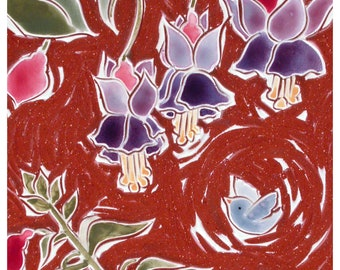 """Fuchsia and blue birds,  18"""" x 6"""" hand carved terra-cotta tiles wall hanging, in black wood frame"""