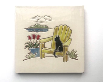 """6 inch black cat on green chair tile, 6"""" x 6"""" hand carved terra-cotta and white tile, trivet, or wall hanging"""