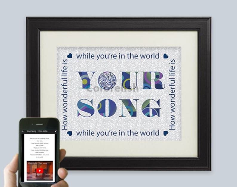 Your Song Elton John Ellie Goulding Or Lady Gaga Lyric Art Personalized 2 5 10 Anniversary Gift For Him Or Her Music Birthday Gift