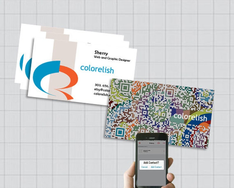 Custom QR code Business Card Design, QR Code vCard, Contact Info Card,  Graphic Design Services, Digital File Only