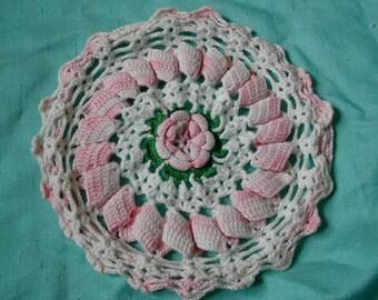 Vintage Crochet Pink Doily