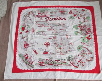 Vintage 1950's Florida Souvenir Tablecloth