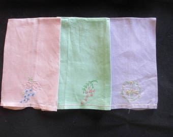 Set of 3 Vintage Hand Embroidered Tea Towels