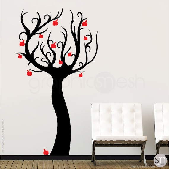 wall decals enchanted apple tree vinyl stickers surface   etsy