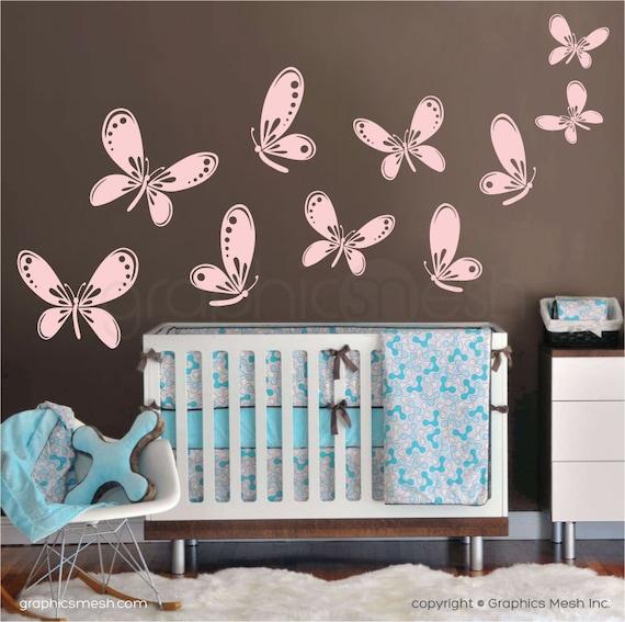 flutter of butterflies wall decals nursery children decor | etsy