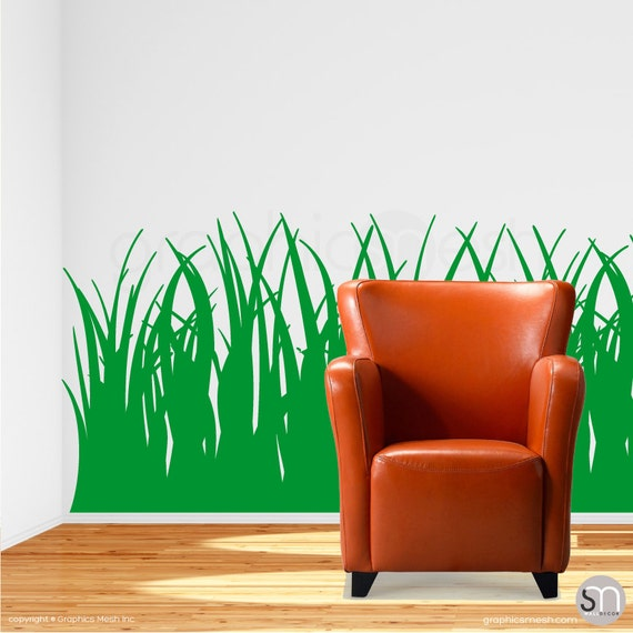 tall grass wall decals vinyl stickers 35 inches tall | etsy