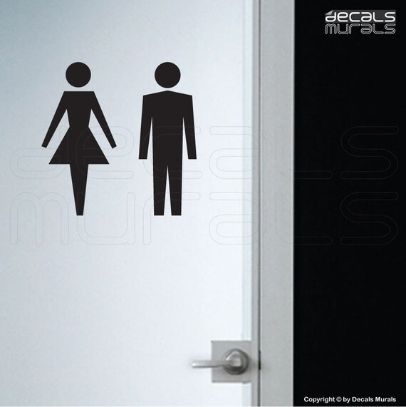 Wall Decals Female Male Symbol Stick Figure Stickers His And Etsy