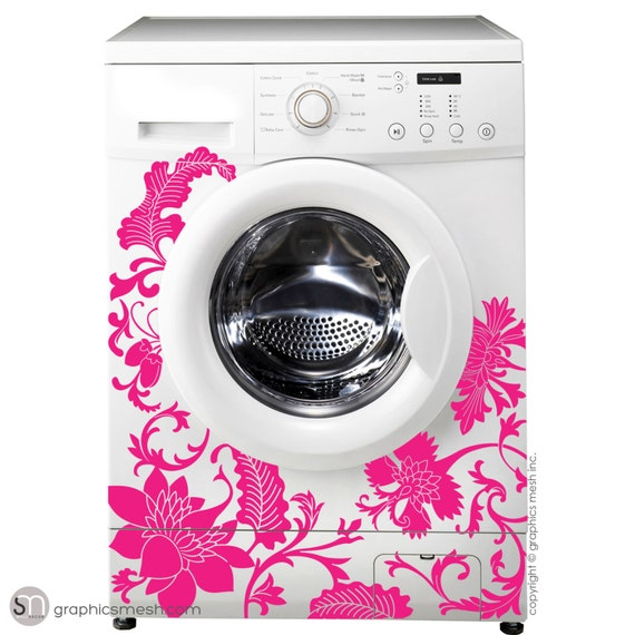 Floral Washer Decor Domesticated Wall Decals Laundry Decorating By Graphicsmesh