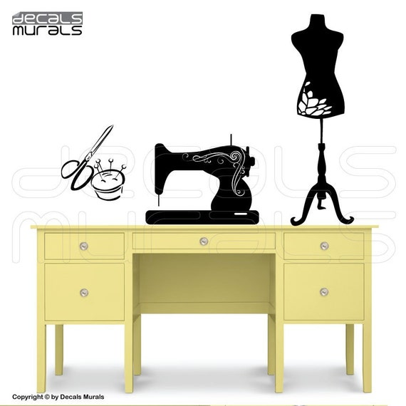 Wall decals SEWING ROOM decor Sewing machine Mannequin art