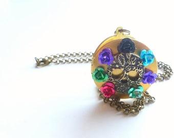Skull and Roses Locket, Brass Locket Necklace, Memento Keeper, Photo Locket, Round Brass Keepsake Jewelry,  ON Sale