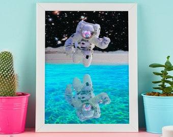 Space Explorer, Astronaut, Spaceman, Surreal Dream Art, Science Fiction Art, Trippy Wall Art, Pop Art, Space Poster