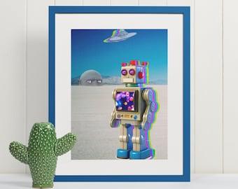 Big Head Releases Toy Robot, Surreal Dream Art, Science Fiction Art, Trippy Wall Art, Pop Art, Pop Surrealism