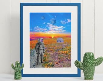 Strange New Worlds, Astronaut and Big Head, Surreal Dream Art, Science Fiction Art, Trippy Wall Art, Pop Art, Pop Surrealism