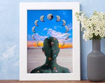 Astral Alignment, Surreal Dream Wall Art, Digital Collage Wall Art, Trippy Wall Art, Zen Meditation Wall Art