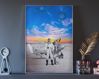 Galaxy Explorer Stops to Refuel, Surreal Dream Art, Trippy Wall Art, Pop Art, Pop Surrealism