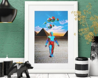 The Arrival, Aliens at the Pyramids, Surreal Dream Art, Science Fiction Art, Trippy Wall Art, Pop Art