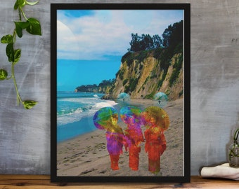 Time Traveling Geishas in Malibu Beach, Fantasy Wall Art, Surreal Wall Art
