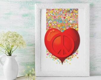 Flower Child, Summer of Love and Peace, Peace Sign Wall Art, Hippie Wall Art, Home Decor, Pop Art, Poster Art