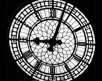 England-London-Architecture- Big Ben-Clock Face in black and white-Fine Art Photography