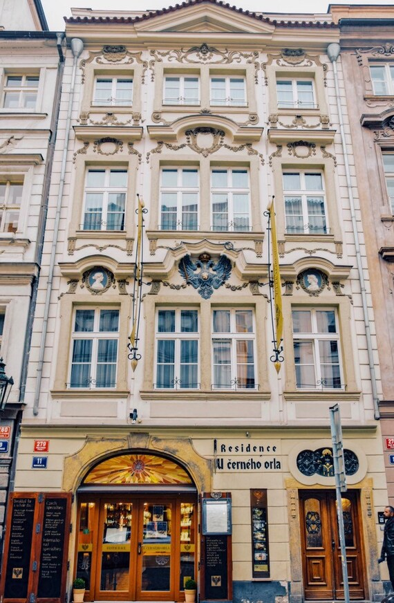 Czech Republic,Prague, Praha,Art Nouveau, architecture, Yellow  building,Travel \u0026 art photography
