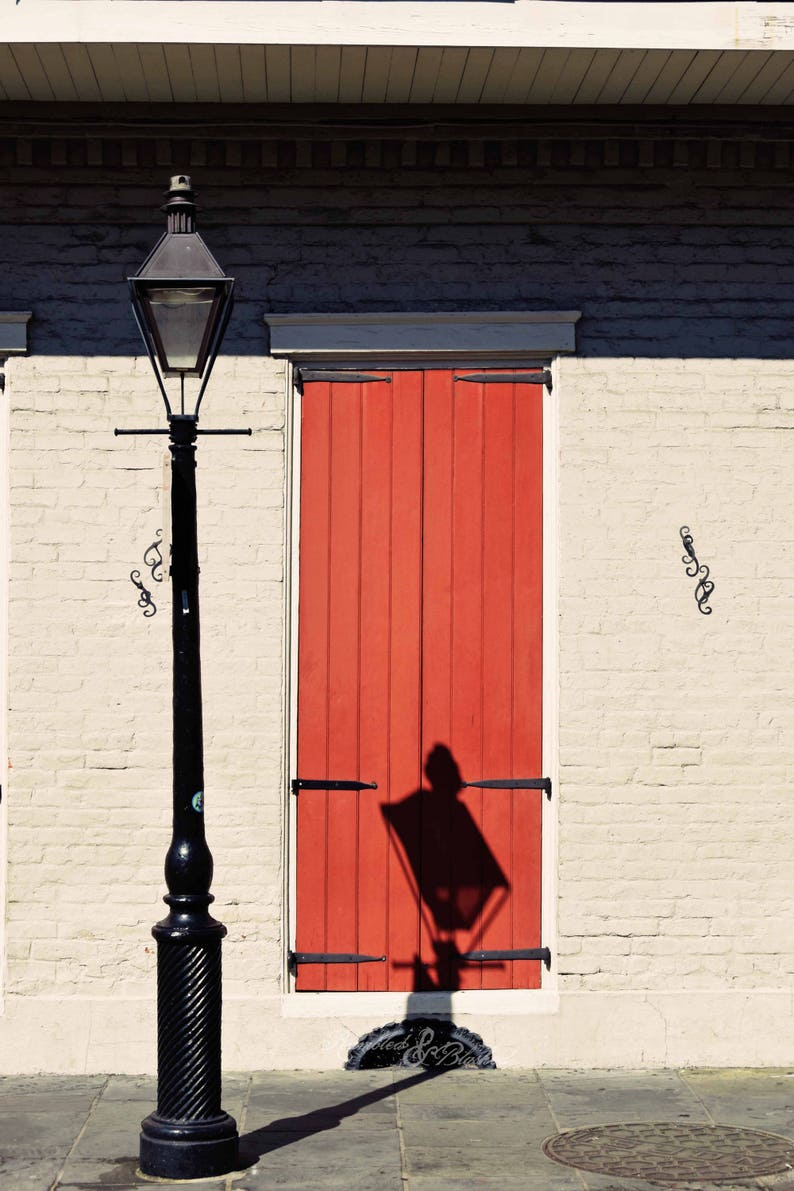 New Orleans Nola French Quarter Architecture Lamp Post Shadow Fine Art Photography