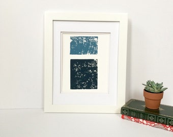 Midnight blue or denim blue and black 9x12 modern abstract linocut print
