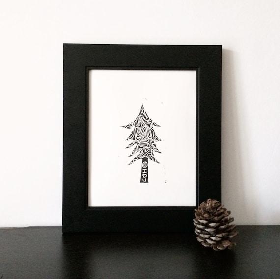 Moderner Weihnachtsbaum.Moderner Weihnachtsbaum Linolschnitt In Schwarz 8 X 10 Druckgrafik