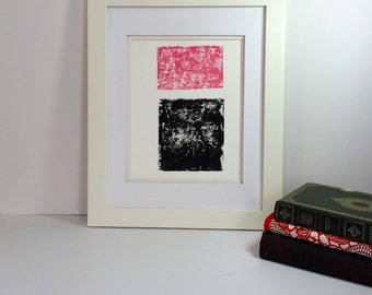 Pink and Black Summer Minimalist linocut art 9x12 limited edition