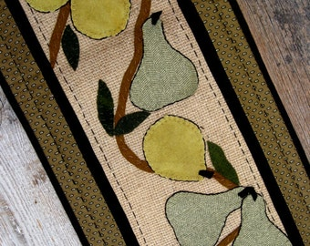 Apples and Pears Table Runner in Burlap, Wool, and Cotton Shabby Chic Cottage Elegance