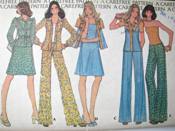 UNCUT Vintage McCalls Sewing Pattern Misses Jacket Tunic Pull on Pant Skirt 8114