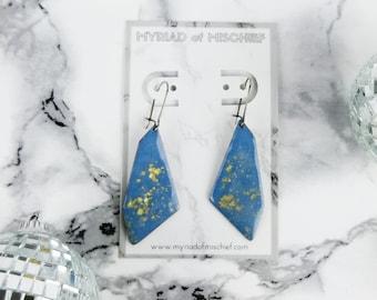 Serenity Blue Geo Dangle Enamelled Earrings with Gold Flecks