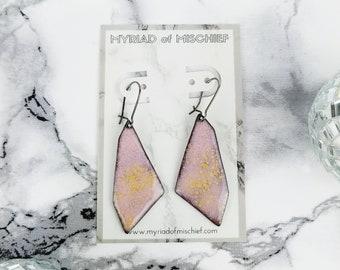 Rose Quartz Pink Enamelled Geo Dangle Earrings with Gold Flecks