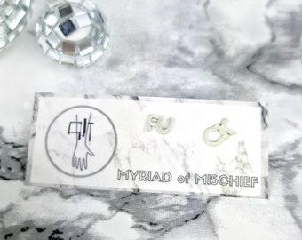 Dainty & Delicate 'FUCK' Fine Silver Studs