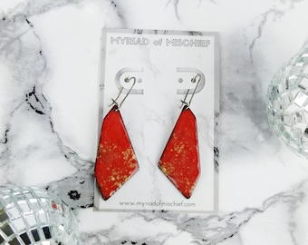 Chinese Red Enamelled Geo Dangle Earrings with Gold Flecks