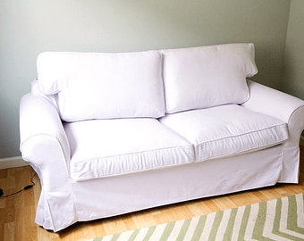 Custom IKEA Ektorp Sofa Bed Cover (2 Seater) In Gaia White Cotton Fabrics