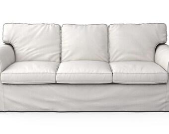 IKEA Ektorp 3 Seater Sofa SLIPCOVER ONLY In Herringbone Ivory Fabric