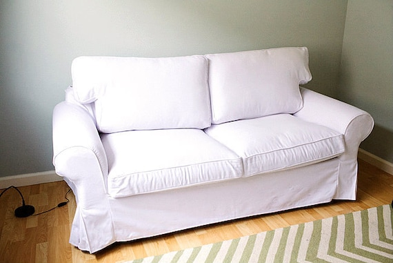 Custom Ektorp Sofa Bed Cover 2 Seater In Canvas White Cotton | Etsy