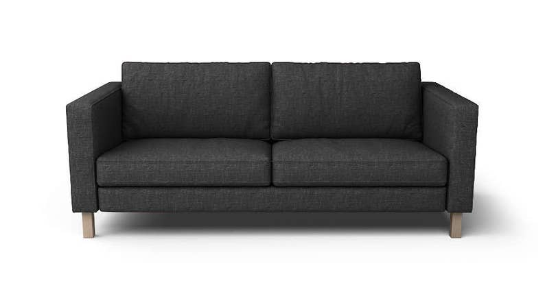 Zetelbed 1 Persoon Ikea.Ikea Karlstad 3 Seater Slipcover Only In Nomad Black Fabric
