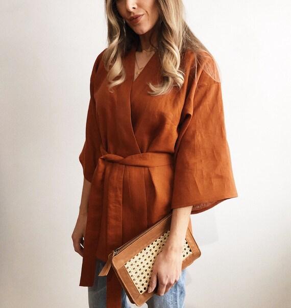 Linen Kimono Style Top Jacket Blouse Handmade Terracotta Rust Etsy