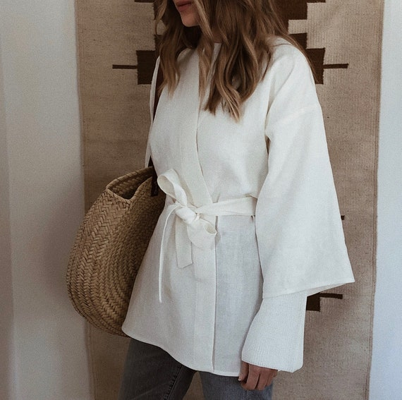 Linen Kimono Style Top Jacket Blouse Handmade Ivory Bone White Etsy
