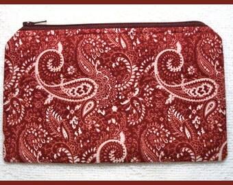Zipper Bag Handmade with Burgundy Paisley Fabric