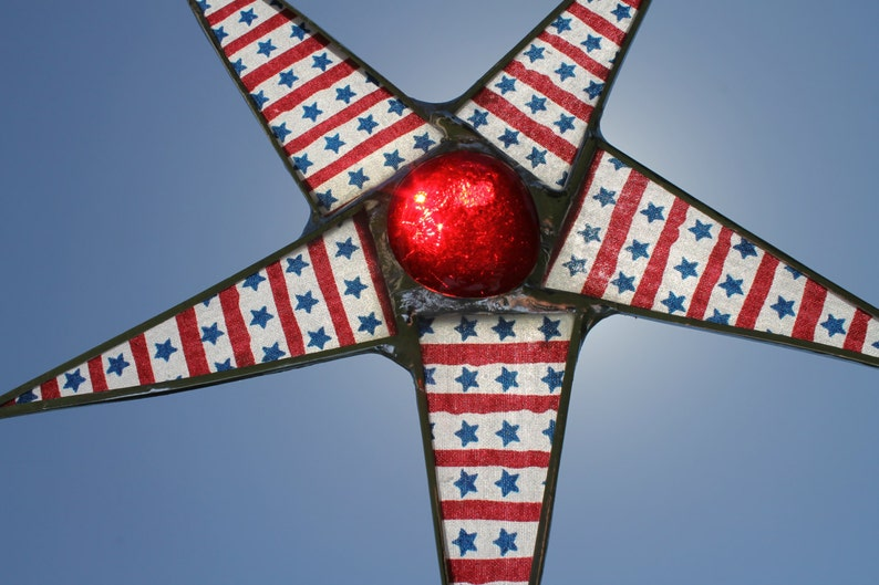 Stars and Stripes 8.5 inch lacquered glass star in red white image 0