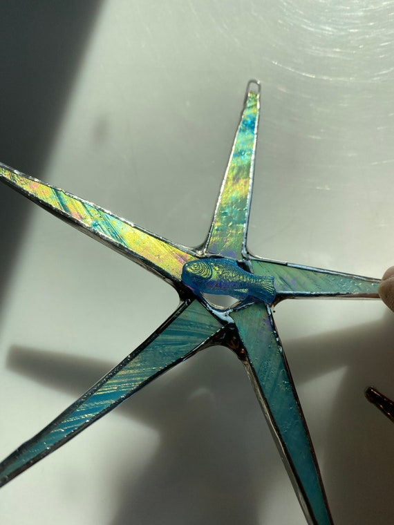 Fish star- irridized Czech glass fish with irridized art glass points 5.5 inches