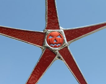 Deep Orange Jack-o-Lantern star- 5.5 inches stained glass with resin pumpkin center